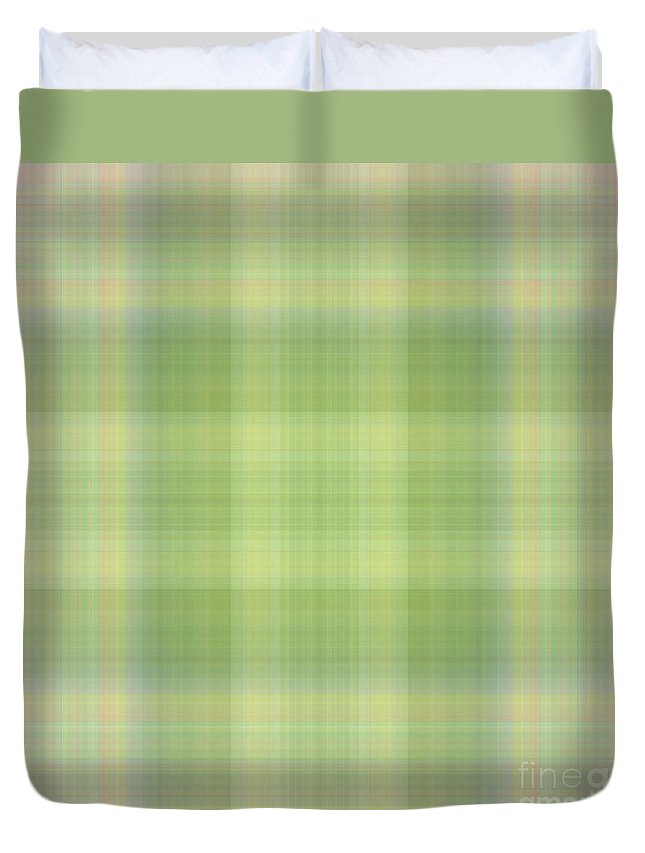 Design Duvet Cover featuring the mixed media Tapeten-wallpaper-green-mix-checkered by Mando Xocco