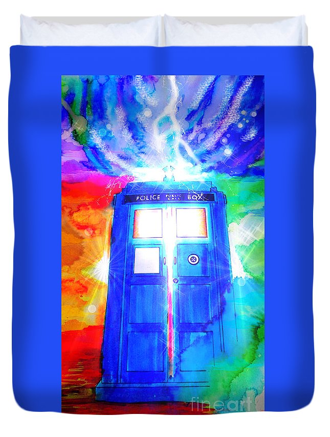 Justin W Moore Duvet Cover featuring the drawing Tardis by Justin Moore