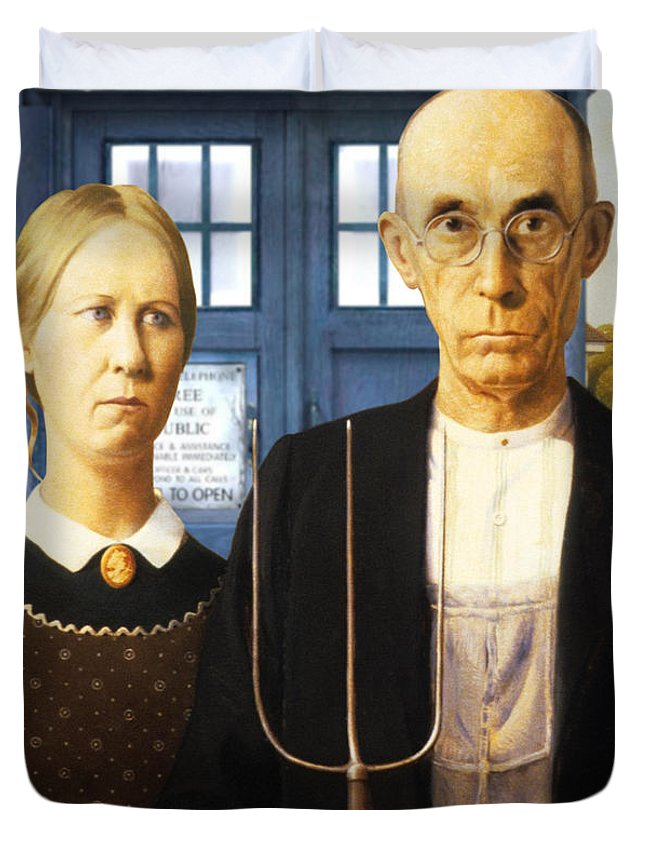 American Gothic Duvet Cover featuring the painting Tardis V Grant Wood by GP Abrajano