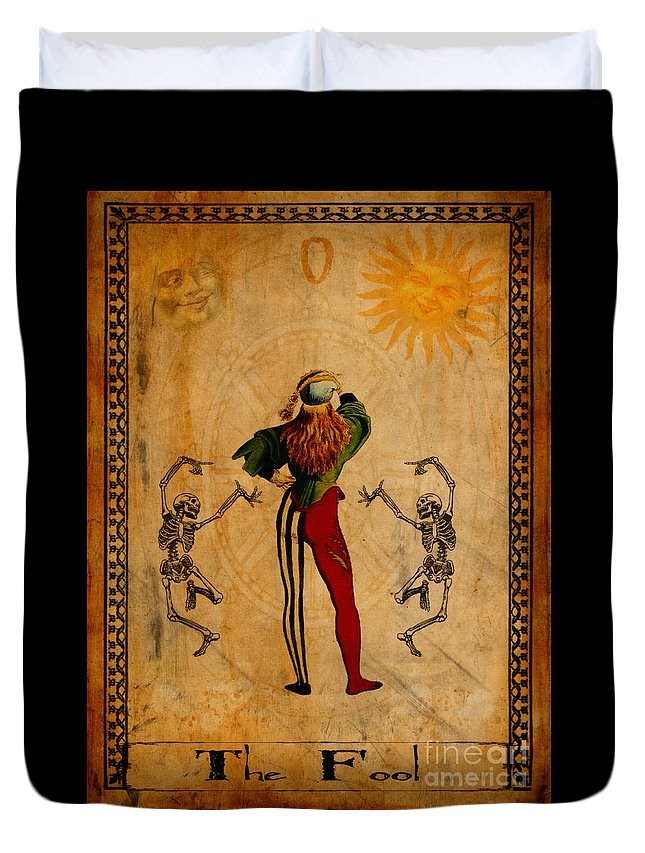 Jester Duvet Cover featuring the painting Tarot Card The Fool by Cinema Photography