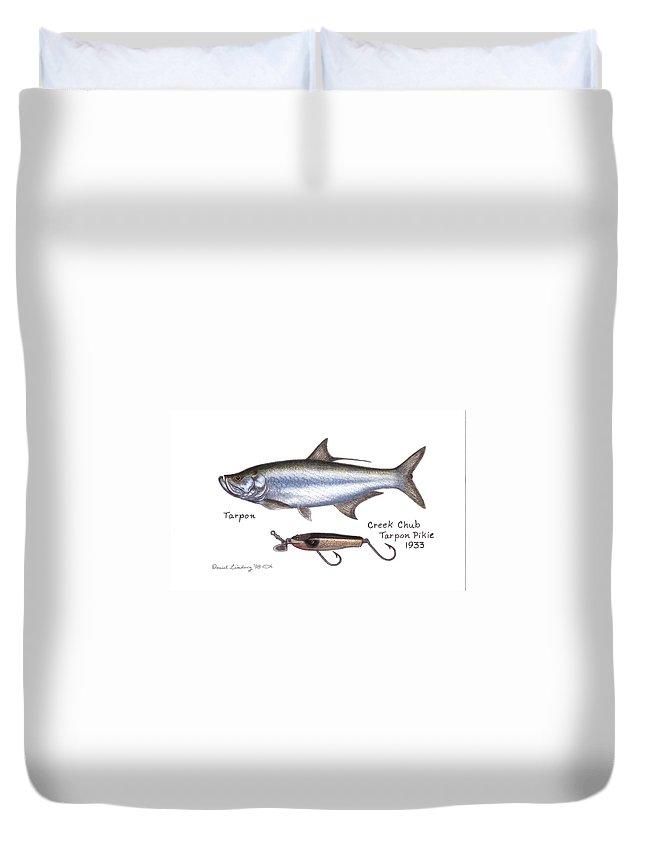 Fish Duvet Cover featuring the drawing Tarpon And Creek Chub Tarpon Lure 1933 by Daniel Lindvig