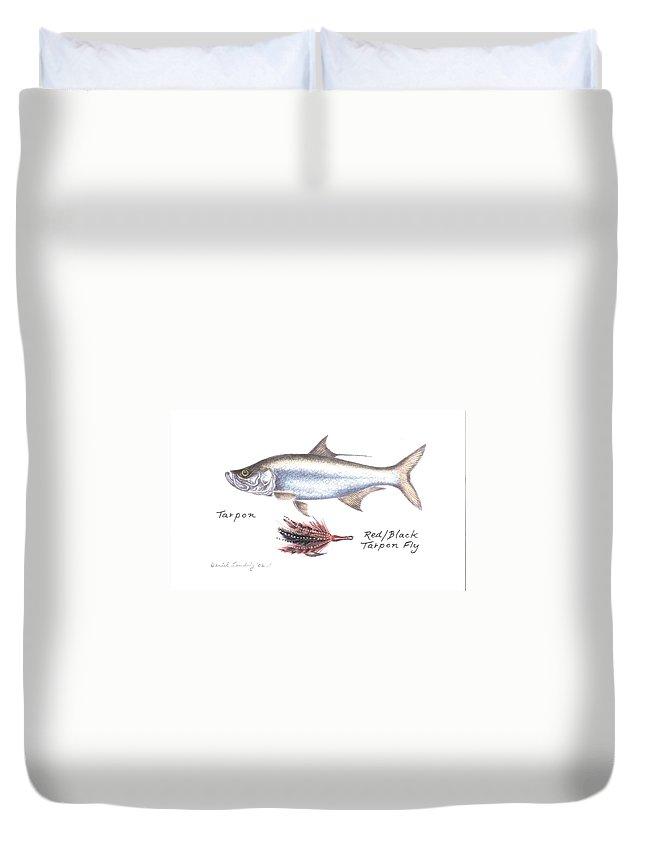 Fly Fishing Duvet Cover featuring the drawing Tarpon And Red Black Tarpon Fly by Daniel Lindvig
