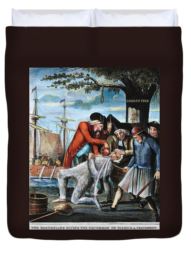 1773 Duvet Cover featuring the photograph Tarring & Feathering, 1773 by Granger
