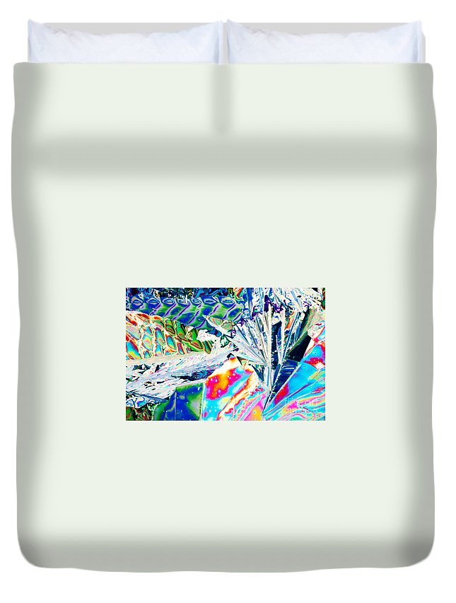 Abstract Duvet Cover featuring the photograph Tartaric Acid Crystals In Polarized Light by Stephan Pietzko