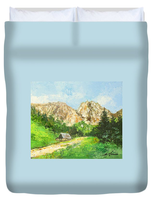 Giewont Duvet Cover featuring the painting Tatry Giewont - Poland by Luke Karcz