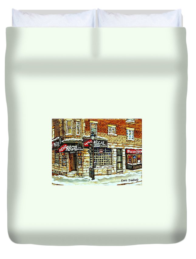 La Chic Regal Duvet Cover featuring the painting Taverne La Chic Regal Pointe St.charles Jazz Bar Montreal Paintings Winter Street Scene Original Art by Carole Spandau