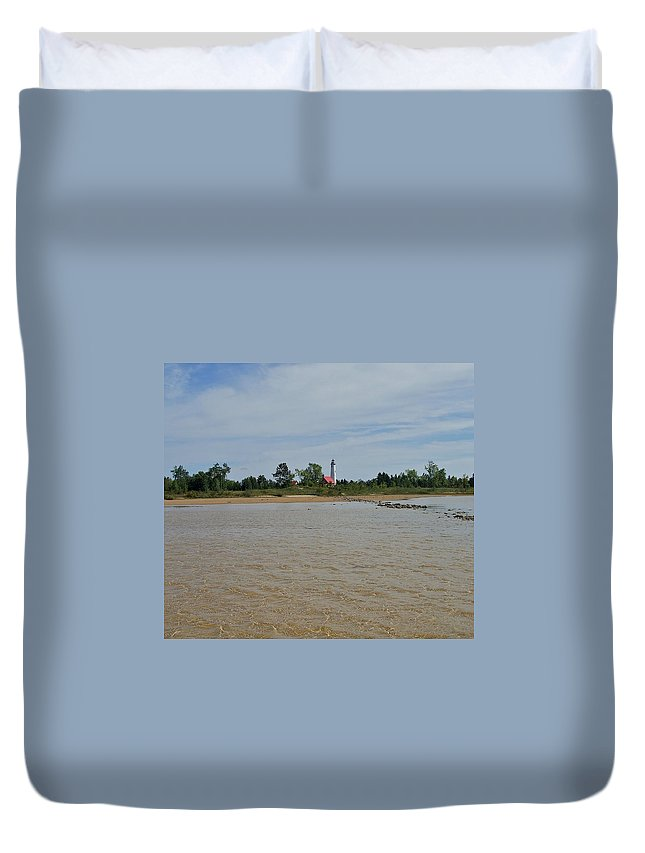 Tawas Bay Duvet Cover featuring the photograph Tawas Point Light by Susan Wyman