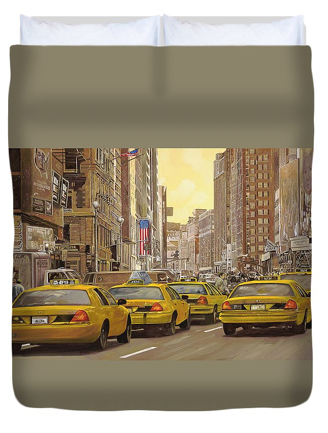 New York Duvet Cover featuring the painting taxi a New York by Guido Borelli