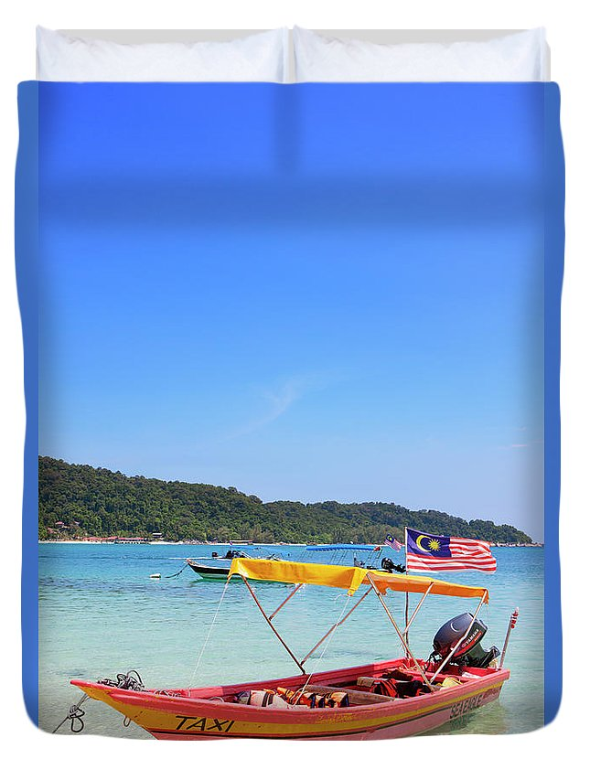 Tranquility Duvet Cover featuring the photograph Taxi Boat, Perhentian Islands by Laurie Noble