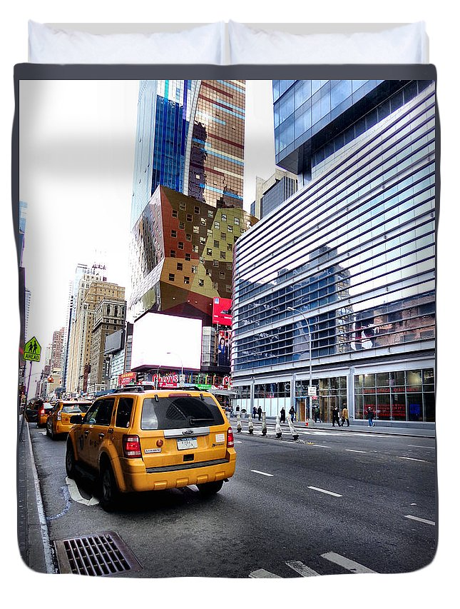 City Duvet Cover featuring the photograph Taxi Man by Art Dingo