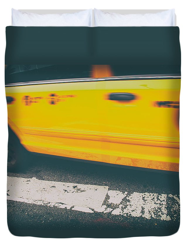 Taxi Duvet Cover featuring the photograph Taxi Taxi by Karol Livote