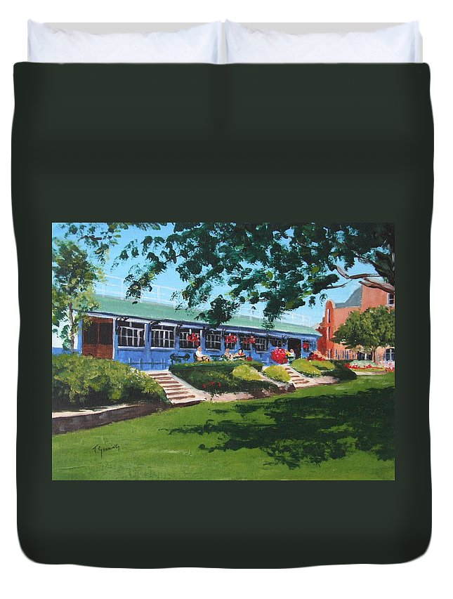 Peoples Park Duvet Cover featuring the painting Tea Rooms At The Peoples Park by Tony Gunning