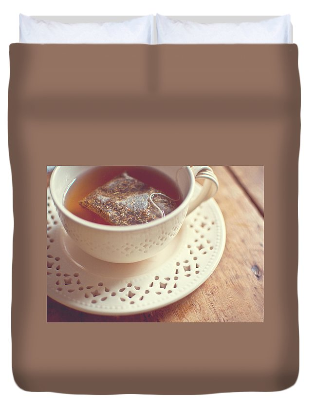 Tea Duvet Cover featuring the photograph tea by Tammy Lee Bradley