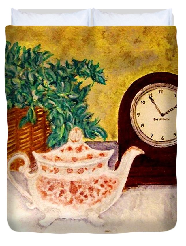 Tea Time Duvet Cover featuring the painting Tea Time by Desiree Paquette