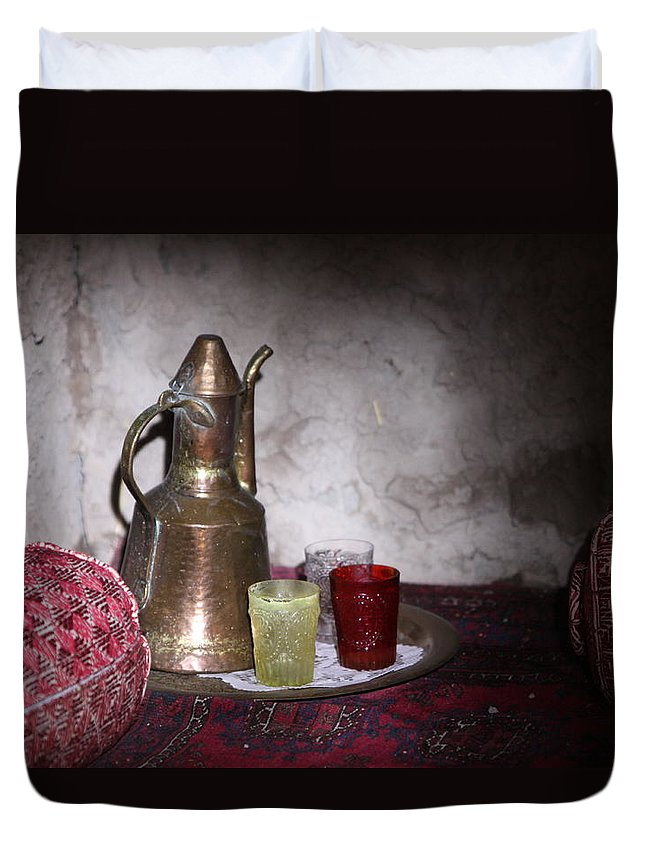Middle Eastern Tea Set Duvet Cover featuring the photograph Tea Time by Shoal Hollingsworth