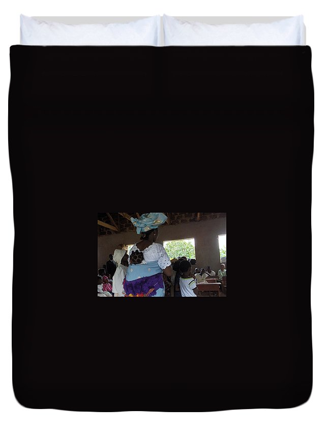 Nigeria Duvet Cover featuring the photograph Teacher Backing Her Baby by Amy Hosp
