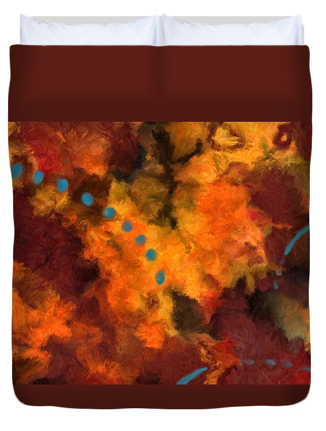 Abstract Duvet Cover featuring the painting Teal Dots by Michael Pickett