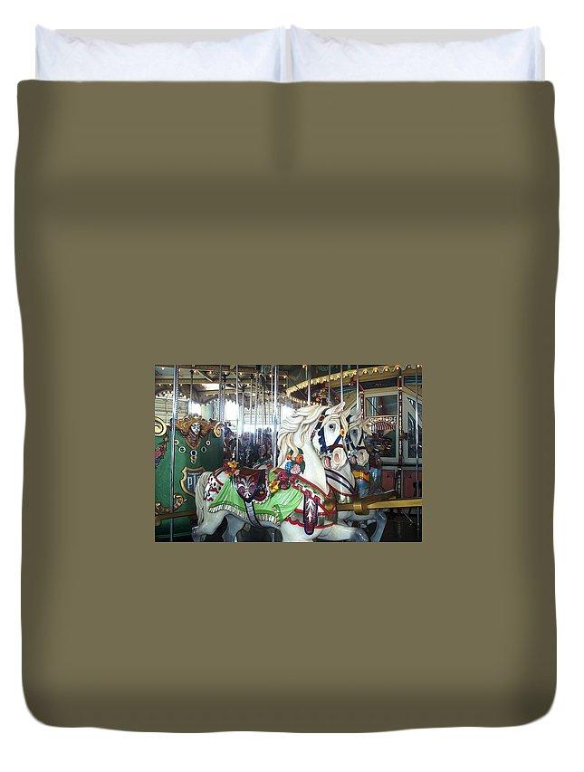 Carousel Duvet Cover featuring the photograph Team Work by Barbara McDevitt