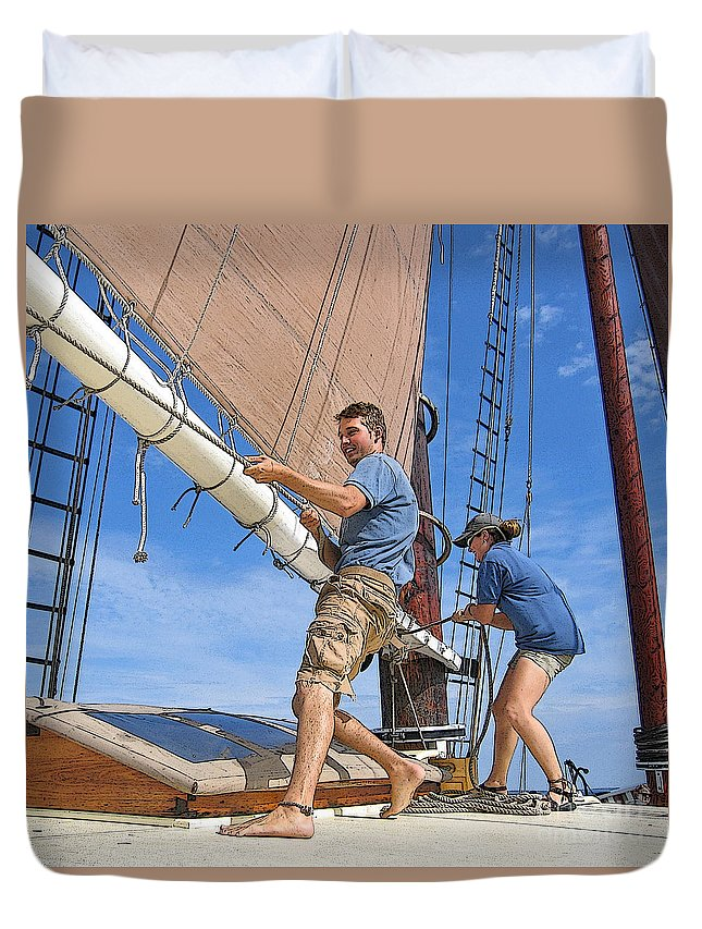 Schooner Duvet Cover featuring the photograph Teamwork On The Lake by Ann Horn