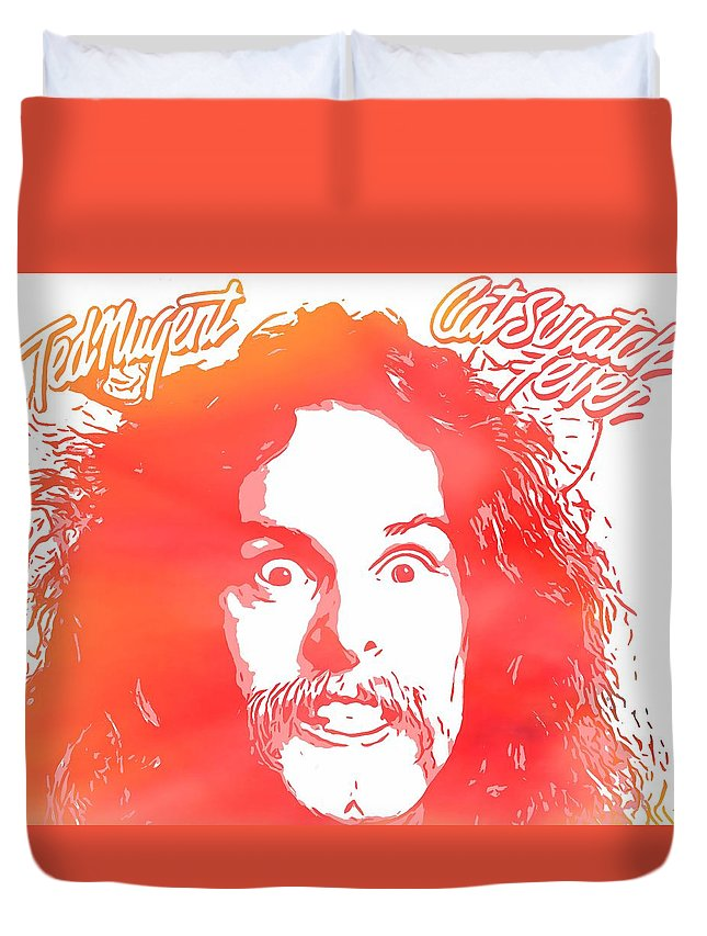 Ted Nugent Cat Scratch Fever Duvet Cover featuring the digital art Ted Nugent Cat Scratch Fever by Dan Sproul