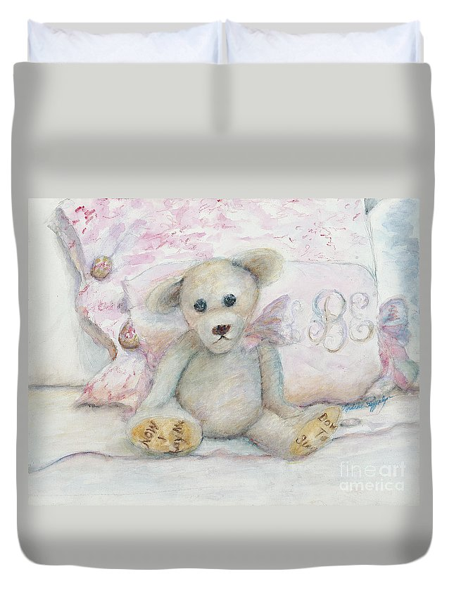Teddy Bear Duvet Cover featuring the painting Teddy Friend by Nadine Rippelmeyer