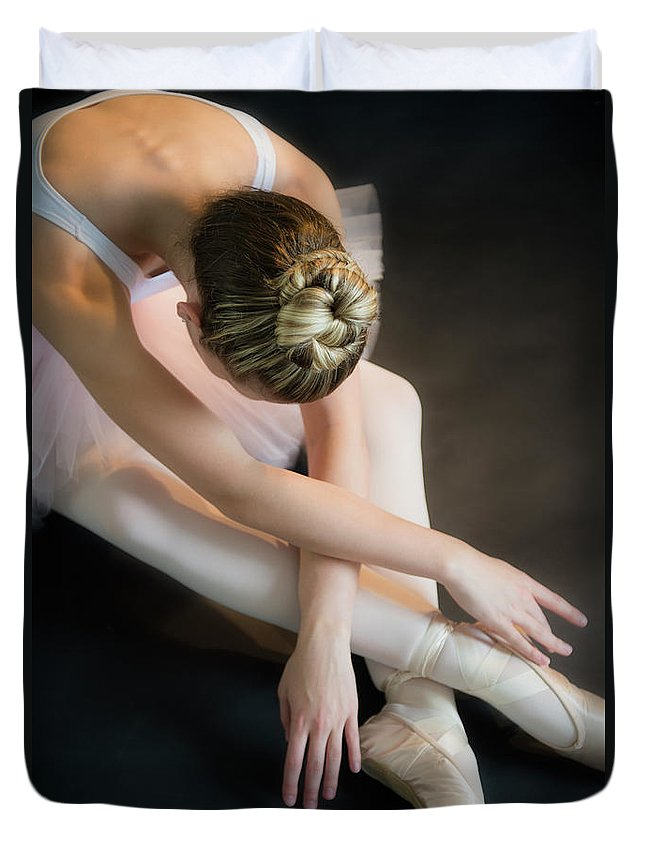 Ballet Dancer Duvet Cover featuring the photograph Teenage 16-17 Ballerina Bending Over by Jamie Grill