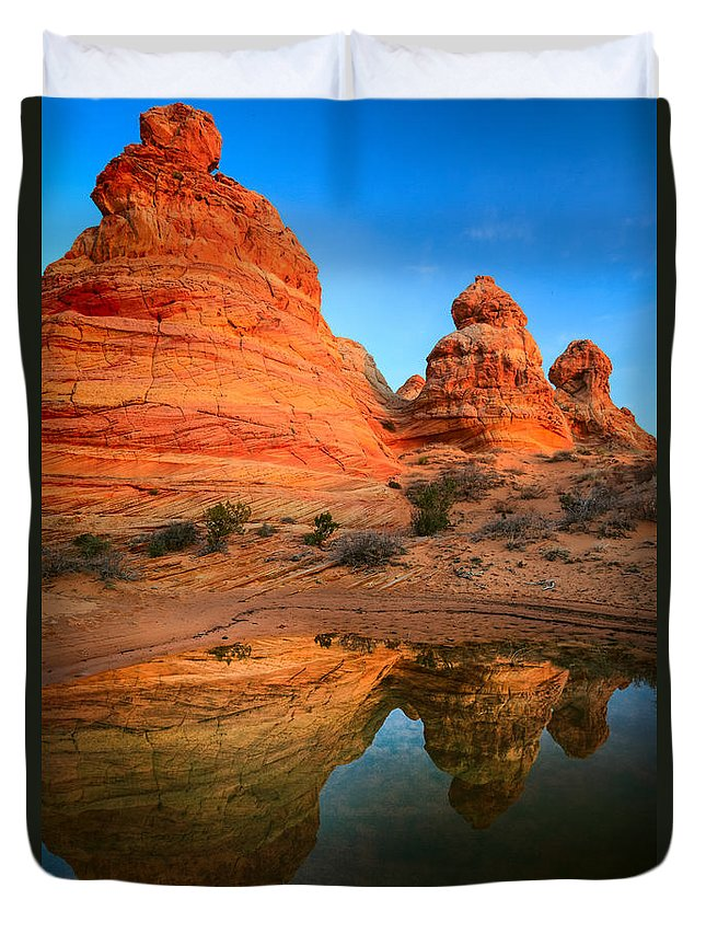 America Duvet Cover featuring the photograph Teepee Reflection by Inge Johnsson