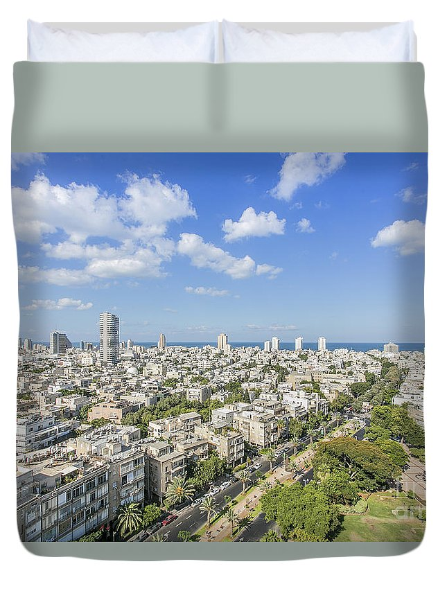 Elevated Duvet Cover featuring the photograph Tel Aviv Israel Elevated View by Sv