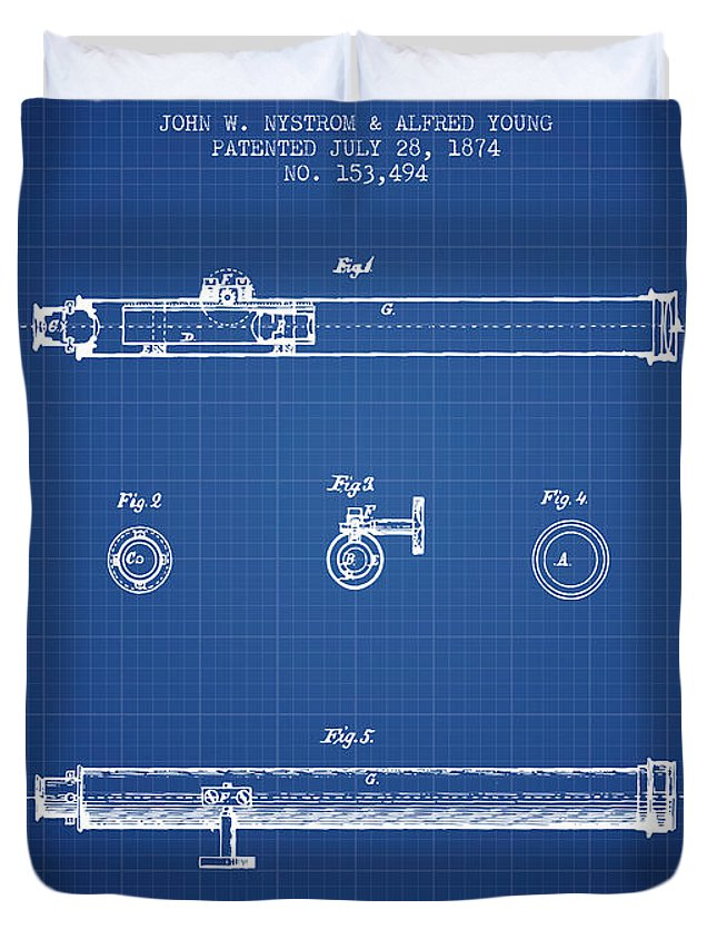 Telescope Duvet Cover featuring the digital art Telescope Patent From 1874 - Blueprint by Aged Pixel