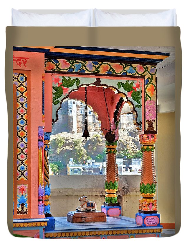 Temple Duvet Cover featuring the photograph Colorful Temple Entrance - Omkareshwar India by Kim Bemis