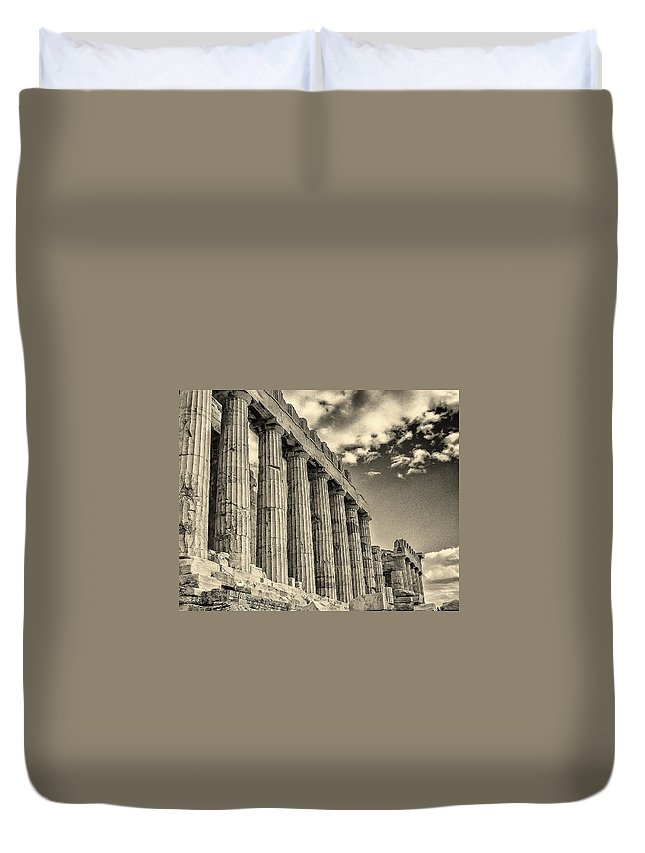 Greece Duvet Cover featuring the photograph Temple Of Athena by Jeff Watts