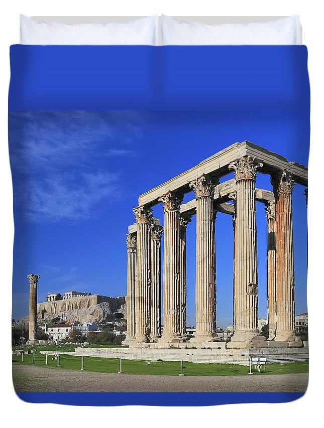 Acropolis Duvet Cover featuring the photograph Temple Of Olympian Zeus Athens Greece by Ivan Pendjakov
