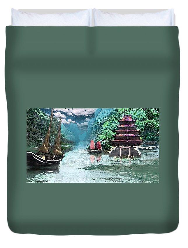 Landscape Duvet Cover featuring the digital art Temple on the Yangzte by Steve Karol