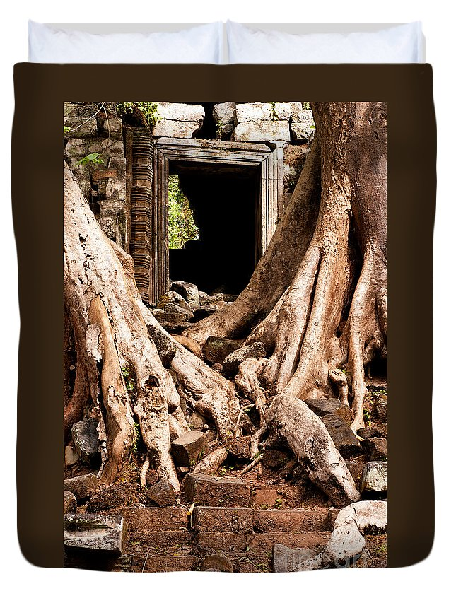 Ruined Duvet Cover featuring the photograph Temple Ruins 02 by Rick Piper Photography