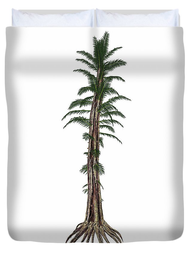 Tree Duvet Cover featuring the photograph Tempskya Prehistoric Tree-like Fern by Elena Duvernay
