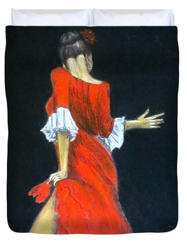 Female Duvet Cover featuring the painting Tempted Again by C Pichura