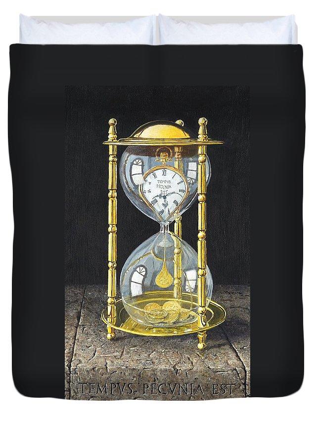 Still Life Duvet Cover featuring the painting Tempus Pecunia Est by Richard Harpum