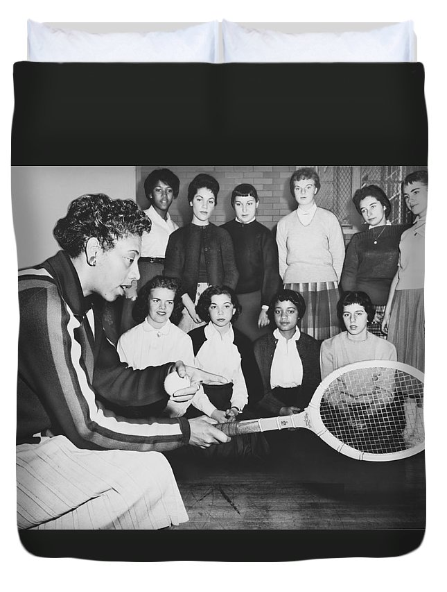 1950s Duvet Cover featuring the photograph Tennis Star Althea Gibson by Ed Ford