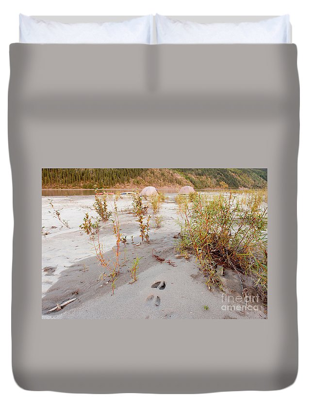 Activity Duvet Cover featuring the photograph Tents At Yukon River In Remote Taiga Wilderness by Stephan Pietzko