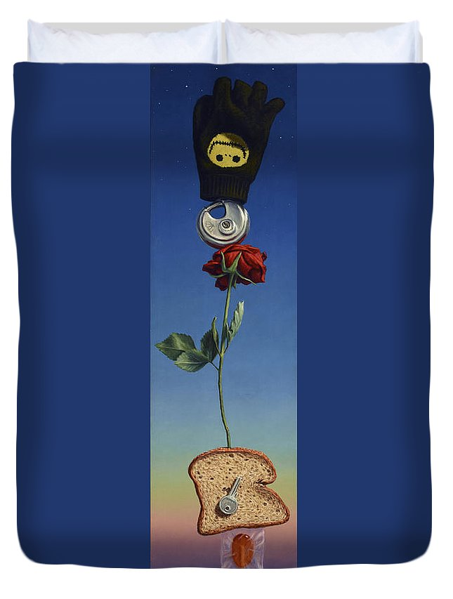 Still-life Duvet Cover featuring the painting Tenuous Still-life 1 by James W Johnson