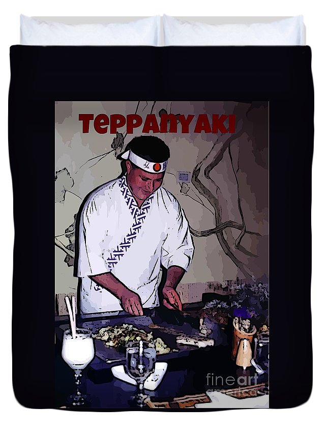 Teppanyaki Prints Duvet Cover featuring the photograph Teppanyaki Cooking by John Malone