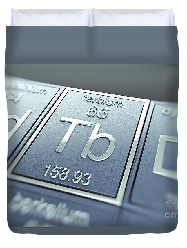 Atomic Number Duvet Cover featuring the photograph Terbium Chemical Element by Science Picture Co