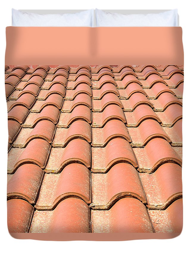 Above Duvet Cover featuring the photograph Terracotta Tiles by Roy Pedersen