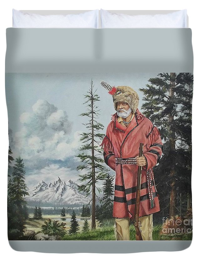 Landscape Duvet Cover featuring the painting Terry The Mountain Man by Wanda Dansereau