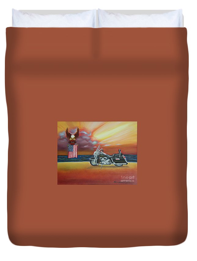 Motorcycle Duvet Cover featuring the painting Terry's Hog by Lora Duguay
