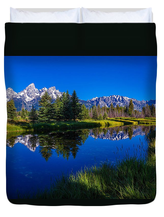 Teton Reflection Duvet Cover featuring the photograph Teton Reflection by Chad Dutson