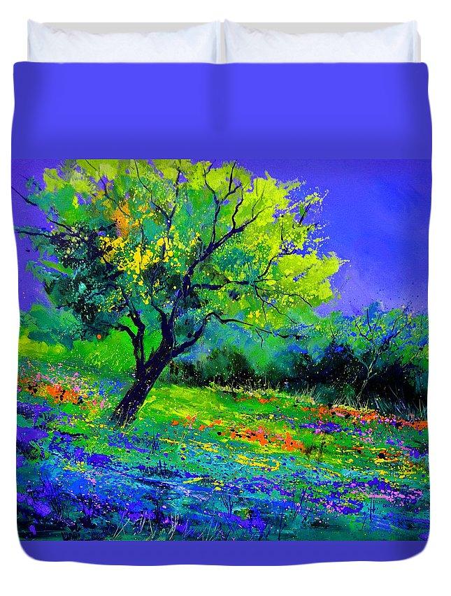 Landscape Duvet Cover featuring the painting Texan oak 764110 by Pol Ledent