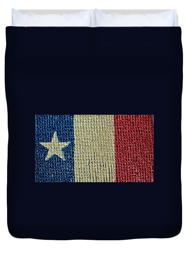 Texas Duvet Cover featuring the photograph Texas First Lone Star Dodson's Flag by Bill Owen