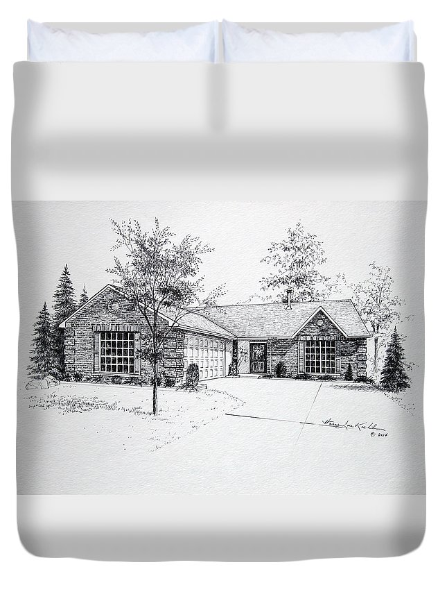 Homes Duvet Cover featuring the drawing Texas Home 1 by Hanne Lore Koehler