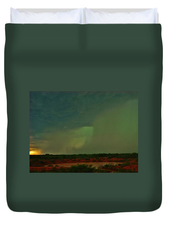 Texas Duvet Cover featuring the photograph Texas Microburst by Ed Sweeney